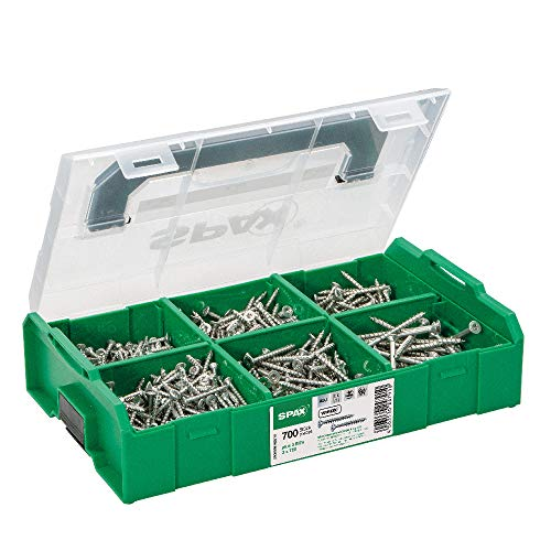 SPAX Montagekoffer, L-BOXX Mini, klein, WIROX A3J, T-STAR plus, Senkkopf, 6 Abmessungen, 703 Stück, inkl. 3 SPAX BITs T20, 5000009162019