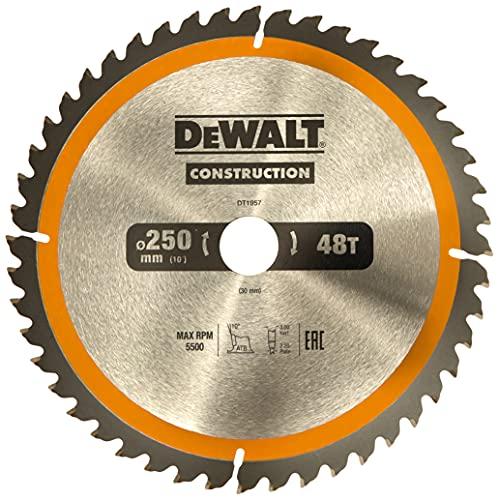 DeWalt Bau-Kreissägeblatt für Stationärsägen/Kreissägenblatt (250/30 mm 48WZ, universeller Einsatz und Querschnitte) DT1957