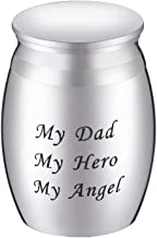 Supreme glory My Dad My Hero My Angel Keepsake Urns Custom Engraved - Mini Cremation Urn for Human Ashes 42mmx30mm - Small Funeral Memorials Meant for Sharing of Token Amount of Ashes