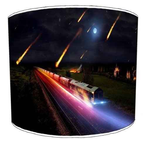 Premier Lampshades - 12 Inch Table Asteroid Storm Train Abstract Lamp Shades