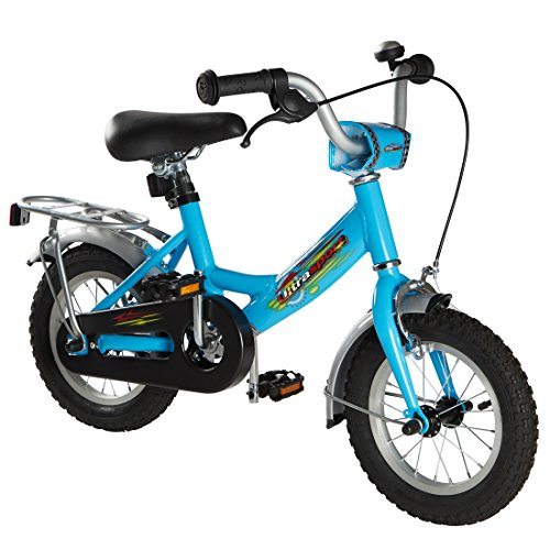Ultrasport Kinderfahrrad 12 ½ Zoll, hellblaues Fahrrad für Jungen ab 3 Jahre (12,5 Zoll), Kinderrad mit Rücktrittbremse