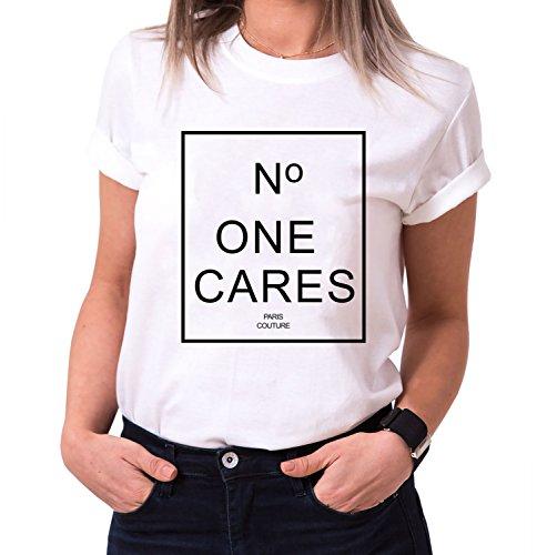 No One Cares Trendiges Damen T-Shirt Girlie Kurzarm Baumwolle mit Druck, Farbe:Weiß;Größe:M