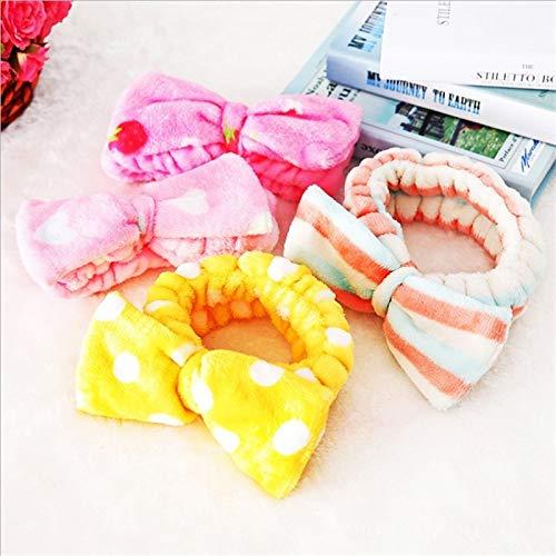 8 PcsBig Rabbit Ear Coral Fleece Head Band Soft Elastic Hair Ribbon SPA Bath Shower Make Up Wash Face Headband Hair Band Headwear