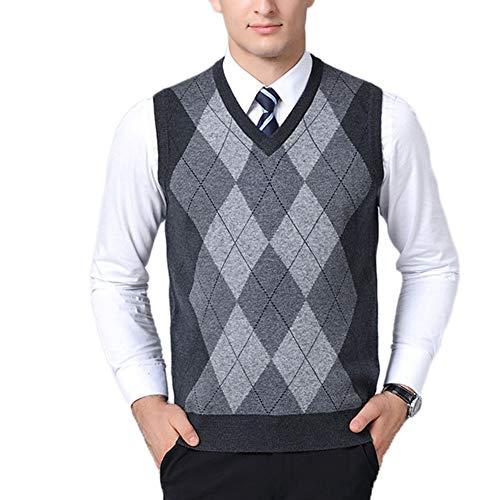 Hombre Sin Mangas Cuello En V Chaleco De Suéter Patrón De Rombo Negocio Punto Suéter Chalecos Gris Oscuro XL