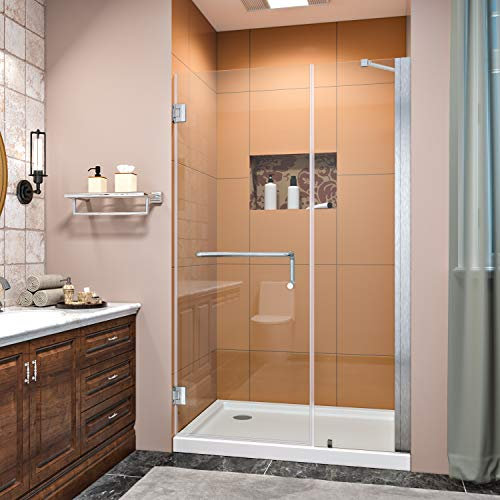 SUNNY SHOWER Glass Door Frameless Pivot Shower Door 3/8 in. Clear Glass Shower Panels 43-44 in. W x 72 in. H Hinged Shower Doors, Brushed Nickel