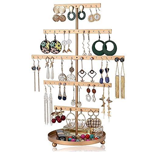 Expositor de joyas dorado para guardar pendientes, con bandeja, 5 capas, organizador de pendientes, soporte para joyas, árbol con bandeja para relojes, anillos, pintalabios.