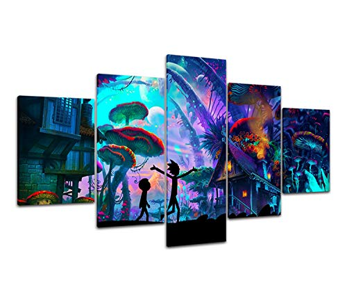 """DAJIDALI Rick and Morty Wall Art, Mushroom World Canvas Prints Modern Home Decor Picture No Frame Painting for Living Room/Bedroom 5 Piece Gift for R&M Fans - 32""""Hx60""""W (Canvas Only)"""