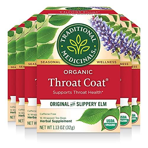 Traditional Medicinals Organic Throat Coat Seasonal Tea, 16 Tea Bags(Pack of 6)
