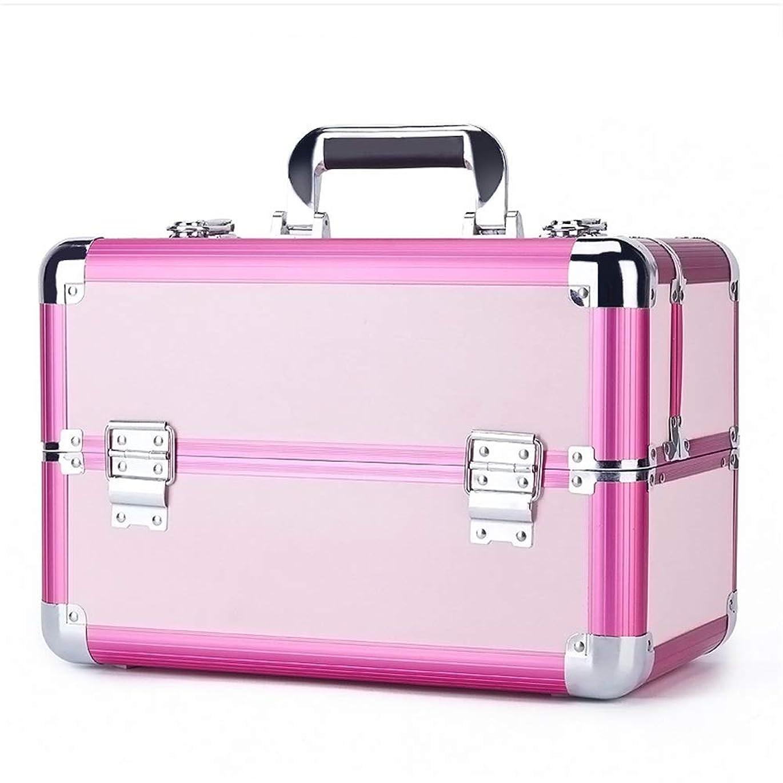 ファンドソース歩行者化粧オーガナイザーバッグ 旅行メイクアップバッグパターンメイクアップアーティストケーストレインボックス化粧品オーガナイザー収納用十代の女の子女性アーティスト 化粧品ケース (色 : ピンク)