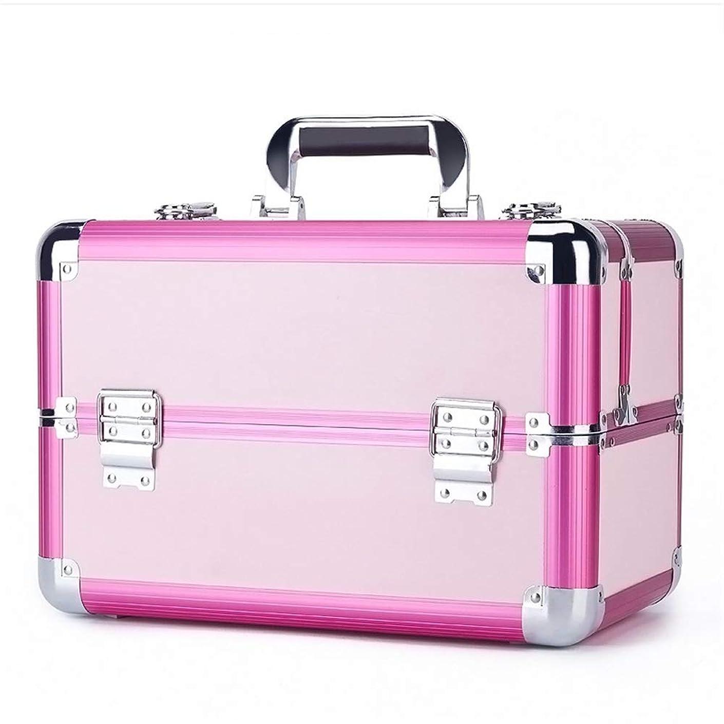文句を言う子猫公演化粧オーガナイザーバッグ 旅行メイクアップバッグパターンメイクアップアーティストケーストレインボックス化粧品オーガナイザー収納用十代の女の子女性アーティスト 化粧品ケース (色 : ピンク)