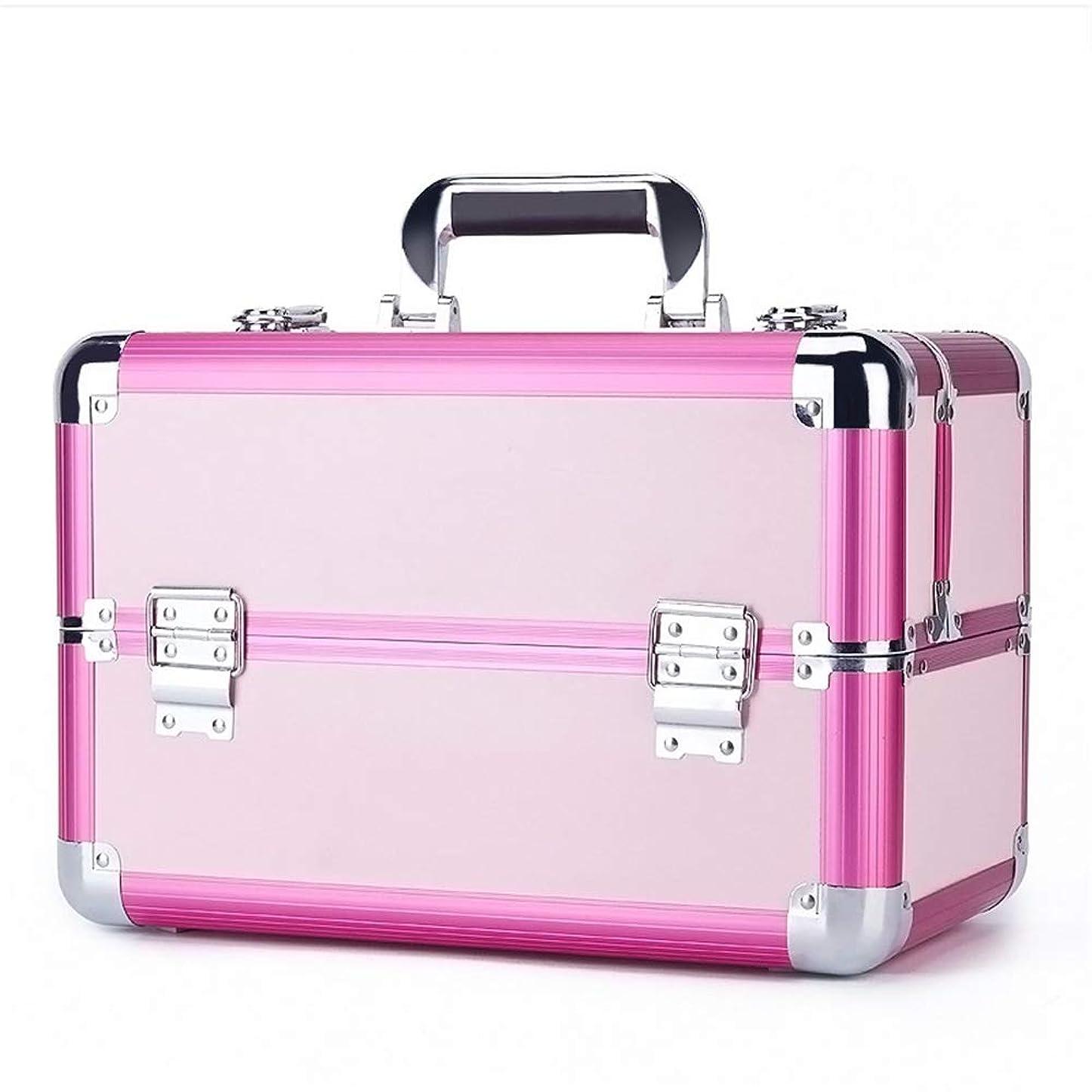 上がる細胞心配化粧オーガナイザーバッグ 旅行メイクアップバッグパターンメイクアップアーティストケーストレインボックス化粧品オーガナイザー収納用十代の女の子女性アーティスト 化粧品ケース (色 : ピンク)