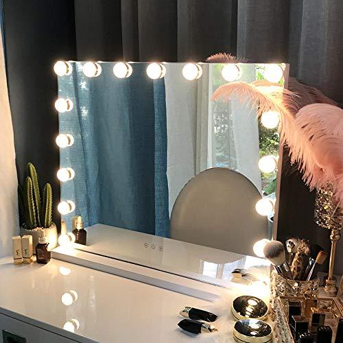YESHUOYS Abnehmbarem Fach Saugnapf - Make-Up Spiegel mit -LED - 16 Lampenspiegel Kosmetikspiegel Tisch LED-Lampe