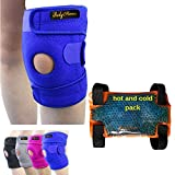 BodyMoves Kid's Knee Brace Support Plus Hot and Cold Ice gel Pack for stabilizing patella meniscus tear ligament injury prevention (ACTIVE BLUE)