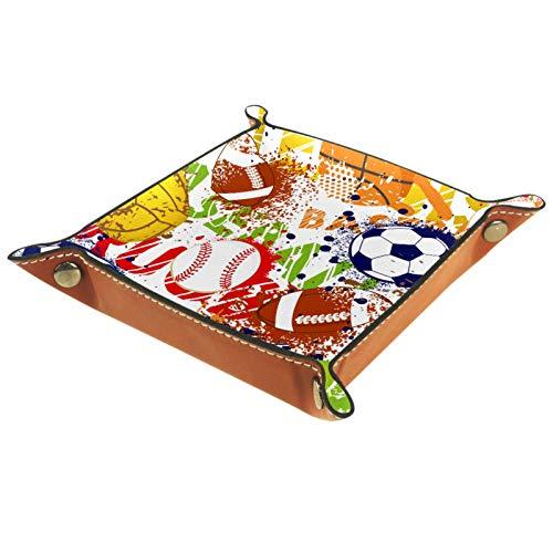 AITAI Valet Tablett aus veganem Leder, Nachttisch-Organizer, Schreibtisch-Aufbewahrungsplatte, Catchall, Basketball, Baseball, Fußball, Fußball