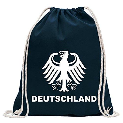 KIWISTAR - Deutschland Bundesadler Turnbeutel Fun Rucksack Sport Beutel Gymsack Baumwolle mit Ziehgurt