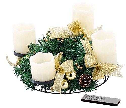 Britesta Gesteck LED-Kerze: Adventskranz, golden, 4 weiße LED-Kerzen mit bewegter Flamme (Adventskränze mit LED-Beleuchtung)