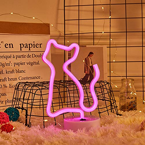ENUOLI Neon gatto rosa segno della luce Cat Neon Lights con Sala Base Decor batteria e USB Operated Neon Lights Rosa Cat segni al neon lampade si accendono per bambini Camera Bar festa di nozze di Na