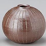 瀬戸焼 加藤正博 菊陶園 焼締 線文丸一輪差 花瓶 サイズ 11 x 9.8cm