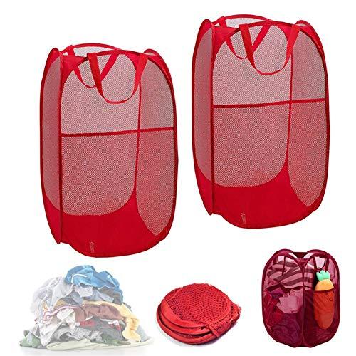TIEHH Cestas de lavandería Plegables de 2 Piezas, Canasta de lavandería de Malla, Canasta de lavandería Cuadrada, Cesta de Almacenamiento de lavandería, Cesta de lavandería (Color : C)