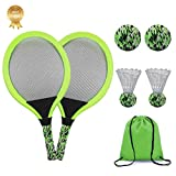 KiraKira Raquetas para niños, Raquetas de Tenis niño,Raqueta de bádminton, Incluye Pelota de Tenis * 2 Pelota de bádminton * 2 con Bolsa de Mano portátil