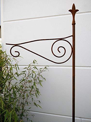 Zen Man Edelrost Metall Gartenstab Laternenstab Haken aus Metall Rost für Blumenampel Garten Blumenampelhalter H175cm