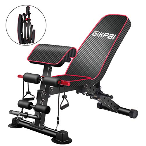 GIKPAL Adjustable Weight Bench - 8 Positions, Flat/Incline/Decline Folding FID Utility Bench, Foldable Exercise Workout Bench for Home Gym, 300lbs Capacity