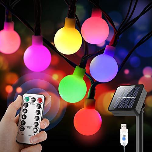 Luces LED Decoracion , 10M Guirnaldas Luces Exterior Solar con USB Carga, Guirnalda Luces de 60 Globos tiene Control Remoto(8 Modes), Decoración de Bricolaje, Interior y Exterior (Impermeable IPX5)
