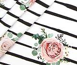 0,5m Jersey Streifen Blumige Aussichten Rosen - weiß