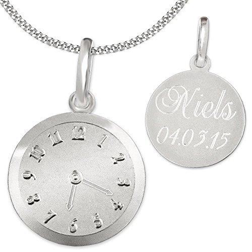 Clever Schmuck Set mit Gravur: Silberner Anhänger Geburts-Uhr matt und glänzend mit wählbarer Kette, beides STERLING SILBER 925 im Etui