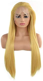 Fashian Blonde Side Part Synthetic Lace Front Wigs Straight Hair Heat Safe Half Hand Tied DIY Fun (Color : Blonde)