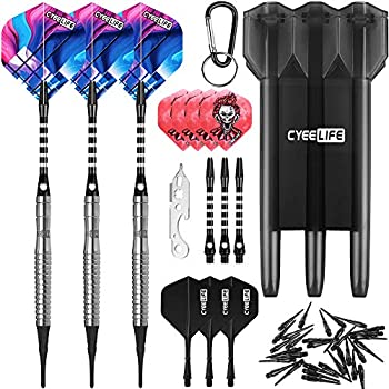 CyeeLife-90% Tungsten Soft tip Darts 20g Dart toolExtra Flights&Tips Alu shafts with Carrying case Professional Darts Set CL05 Style