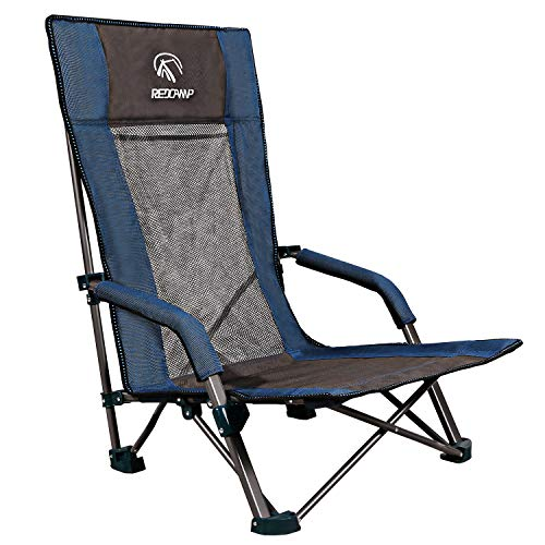 REDCAMP Low Beach Chairs Folding Lightweight with High Back...