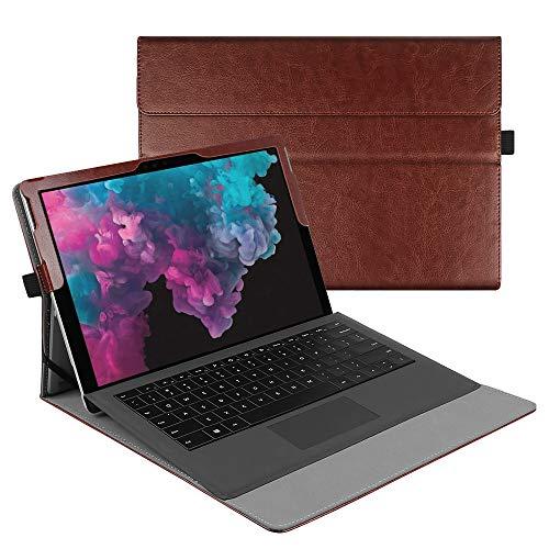 Fintie, hoes voor Microsoft Surface Pro 7/Pro 6/Pro 5/Pro 4/Pro 3 12,3 inch tablet - multi-kijkhoek hoogwaardige hoes, beschermhoes gemaakt van kunstleer, type compatibel, bruin