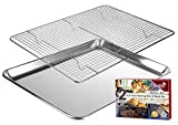 KITCHENATICS Baking Pan and Cooling Rack, Half Sheet Aluminum Baking Pan and Stainless Steel Rack Set, Roasting Rack Set and Cookie Tray for Oven and Grill, Non-Toxic, 13.1' x 17.9' x 1'