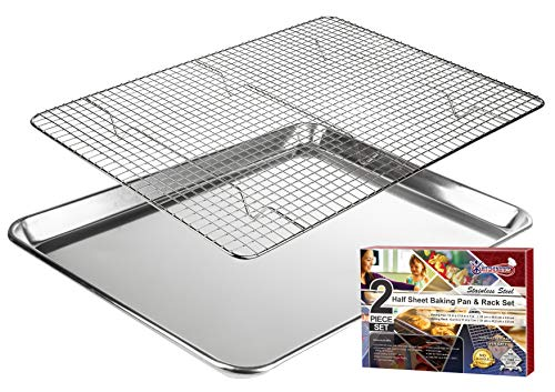 KITCHENATICS 100% Stainless Steel Wire Cooling and Baking Pan with Rack