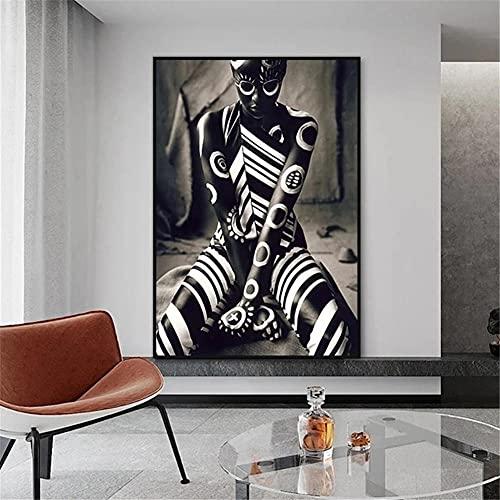 5D DIY Pintura de Diamante, Square Drill Mujer tatuada africana 30x50cm Diamond Painting Rhinestone Bordado de Punto de Cruz Lienzo Artes Manualidades Decoración de Pared del Hogar