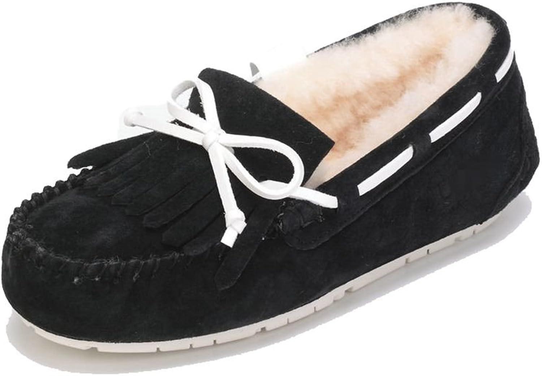 Dekedasi Women's Fur Lined Sueded Slip On Moccasin Loafer Black