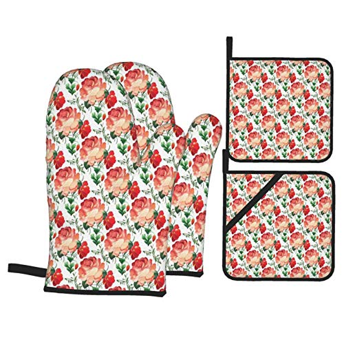Oven Mitts and Pot Holders Sets of 4,Traditional Russian Style Flourishing Roses And Flower Buds With Green Leaves ,BBQ Gloves with Quilted Liner Resistant Hot Pads for Kitchen Cooking Baking Grilling
