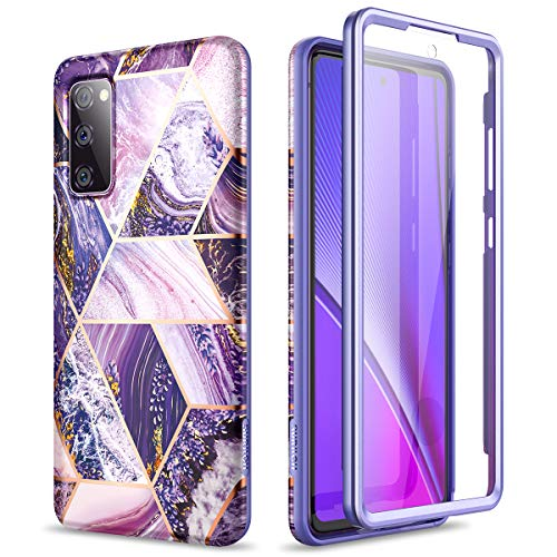 SURITCH Marble Case for Samsung Galaxy S20 FE, [Built-in Screen Protector] Full-Body Protection Shockproof Rugged Silicone TPU Bumper Protective Cover for Galaxy S20 FE 5G 6.5 Inch (Purple Lavender)