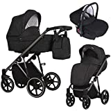 KUNERT Kinderwagen MOLTO Sportwagen Babywagen Autositz Babyschale Komplettset Kinder Wagen Set 3 in 1 (Schwarzer Strich, Rahmenfarbe: Graphit, 3in1)