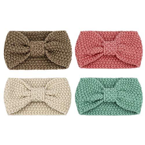 DRESHOW Damen Schleife Design Stirnband Winter Kopfband Haarband Stirnband Häkelarbeit - 4