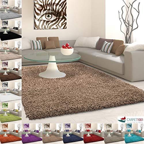 Carpet 1001 Hochflor Langflor Shaggy Teppich Uni Farbe Verschiedene Größen und Farben - Mocca, 200x200 cm Rund