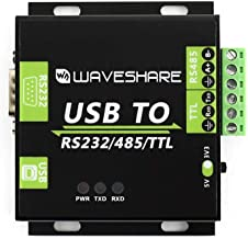 Waveshare USB TO RS232 / RS485 / TTL (UART) Industrial Isolated Converter with Original FT232RL Inside Aluminium Alloy Enclosure Power/Adi Magnetical Isolation,TVS Diode