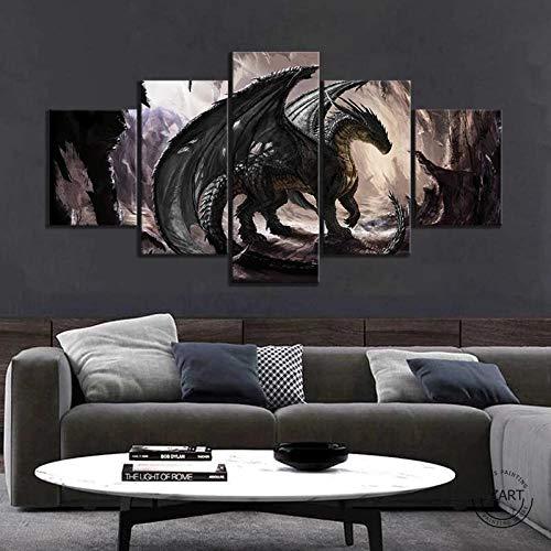 5 Piezas Cuadro sobre Lienzo De Fotos Lienzo Impresión Cuadros Decoracion Salon Grandes Cuadros para Dormitorios Modernos Mural Pared Listo para Colgar Póster Dragones de fantasía (200x100CM)