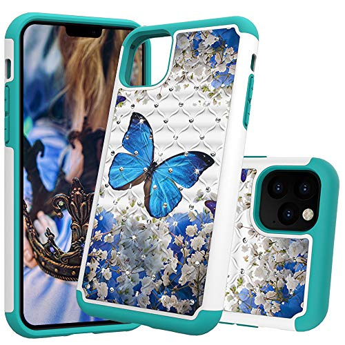 iPhone 11 Pro Max Case, DOOGE Luxury Studded Rhinestone Crystal Bling Diamond Case Dual Layer Bumper Shockproof Protective Case Pretty Fashion Girls Women Case for Apple iPhone 11 Pro Max 6.5inch