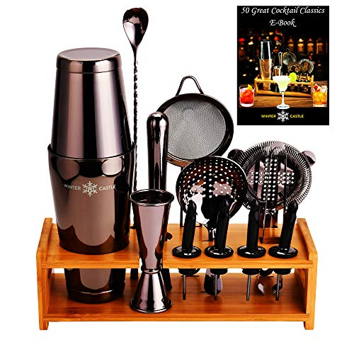 Black Pro Cocktail Shaker Set by WinterCastle-The 18 piece Ultimate Bartender Kit: Boston Shaker, Jigger, Muddler, Bar Spoon, 3 Strainers, 4 Pourers with Caps, Tongs, Bamboo Stand, FREE Recipe EBook