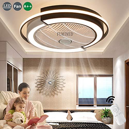 Deckenventilator Mit Beleuchtung Fan LED Deckenleuchte Moderne Licht Fernbedienung Leise Dimmbar Einstellbare Windgeschwindigkeit Deckenlampe Büro Schlafzimmer Wohnzimmer Esszimmer Ventilator Lampe