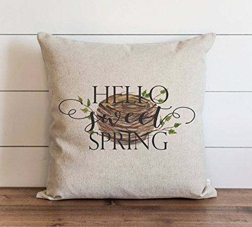 Hello Sweet Spring_Nest Pillow Cover Everyday Throw Pillow Gift Accent Cushion Cover Case Pillowcase with Hidden Zipper Closure for Sofa Bench Bed Home Decor 22 x 22 Inches