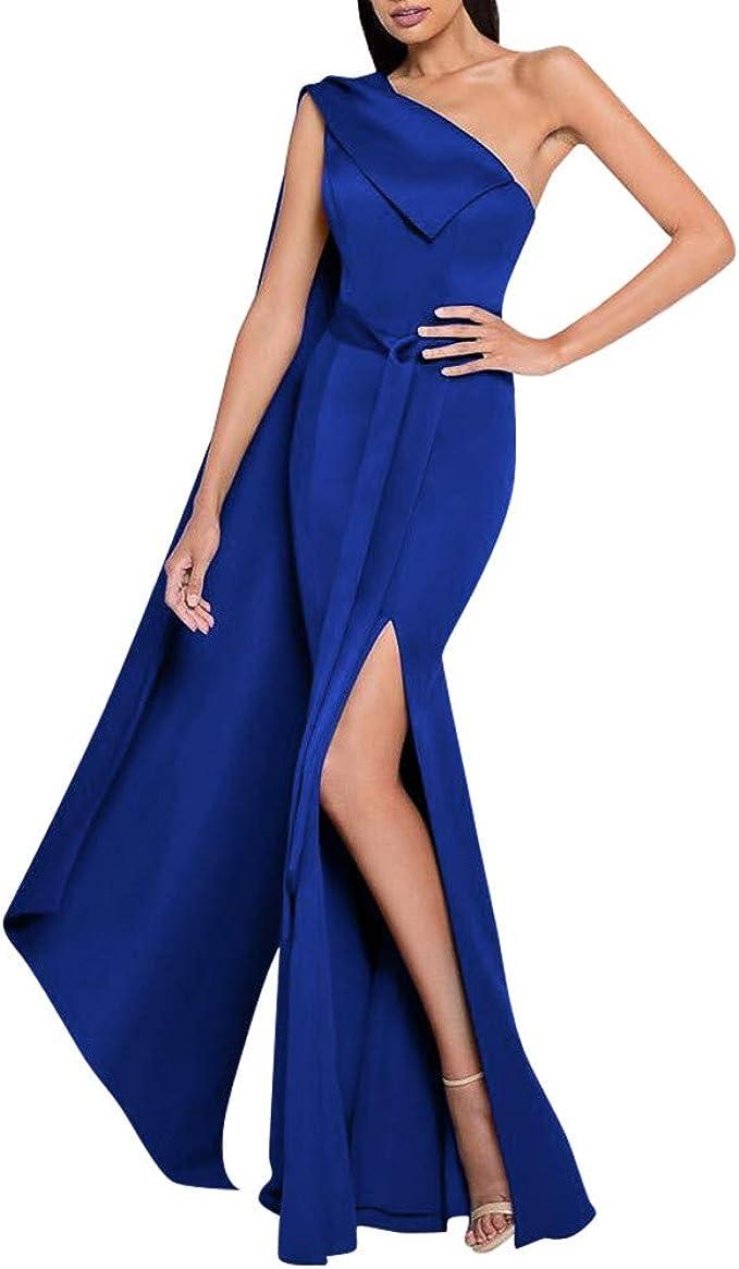 Mayogo Festliche Kleider Abschlussball Kleider Damen Lang Blau One Shoulder Kleider Volant Bodycon Abendkleider Partykleid A Linien Kleid Partykleid Mit Langarmliges Amazon De Bekleidung