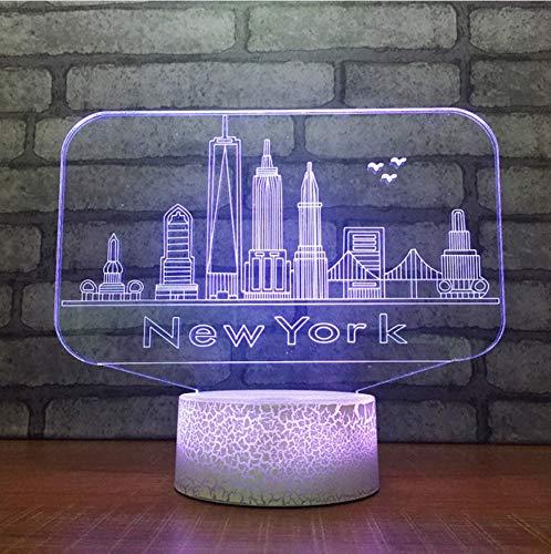 Veilleuse Enfant 3D Usb 7 Changement De Couleur Nouveauté Toucher Bouton Lampe De Table De Bureau New York City Bâtiments Modélisation Led Ambiance Nuit Lumière Cadeaux